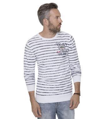 Bílý pulover s proužky CCB-1711-4013