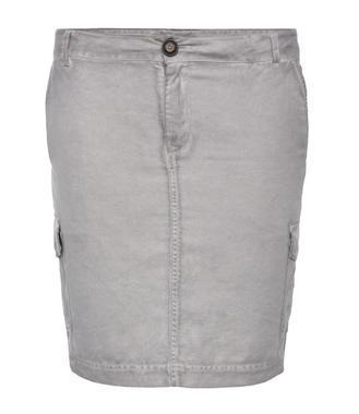 Šedá džínová sukně s kapsami na bocích