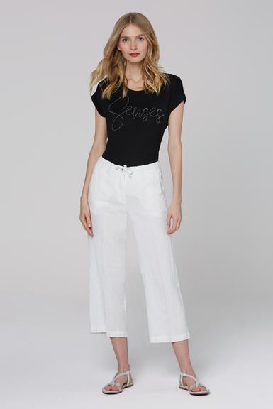 Lněné kalhoty SCU-2000-1389 Cotton White|S - 1