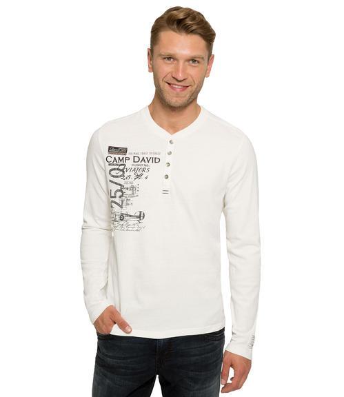 Bílé tričko s dlouhým rukávem a všitým nápisem|M/L - 1