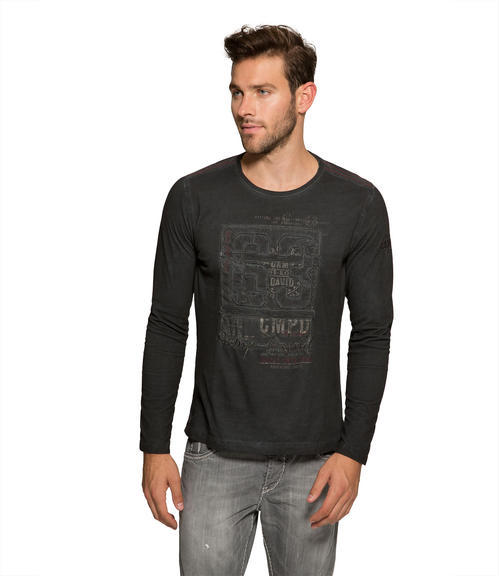 Černé tričko s prošívaným nápisem|M/L - 1