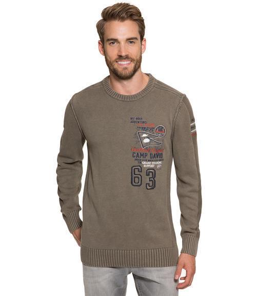 Khaki pletený svetr s výšivkou|S - 1
