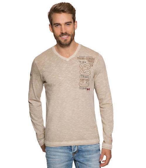 Béžové tričko s dlouhým rukávem a výšivkou|XXL - 1