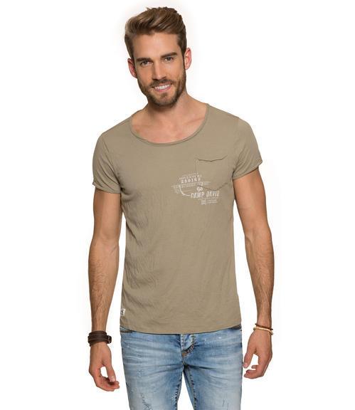 Khaki tričko s náprsní kapsičkou S - 1