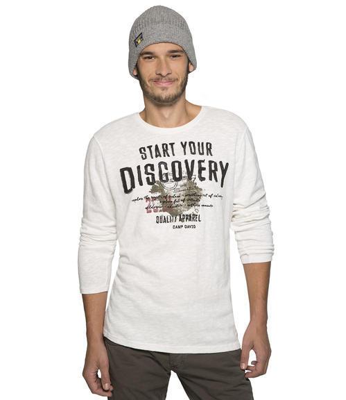bílé tričko s dlouhým rukávem a potiskem|M - 1