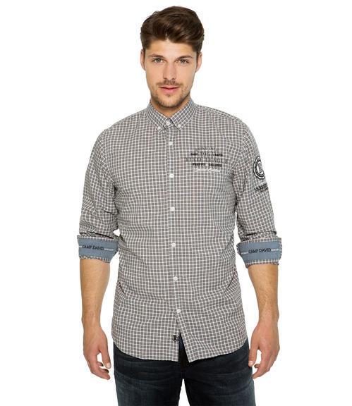 Šedo-bílá károvaná košile|M/L - 1