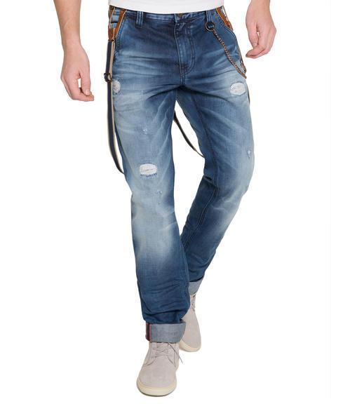 Džínové kalhoty s kšandami 34 - 1