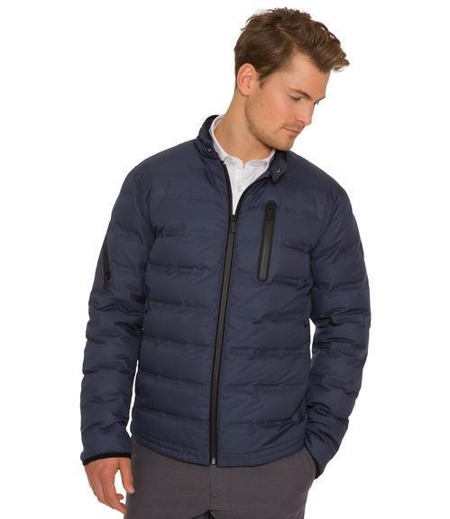 Tmavě modrá bunda s náprsní kapsou|48 - 1