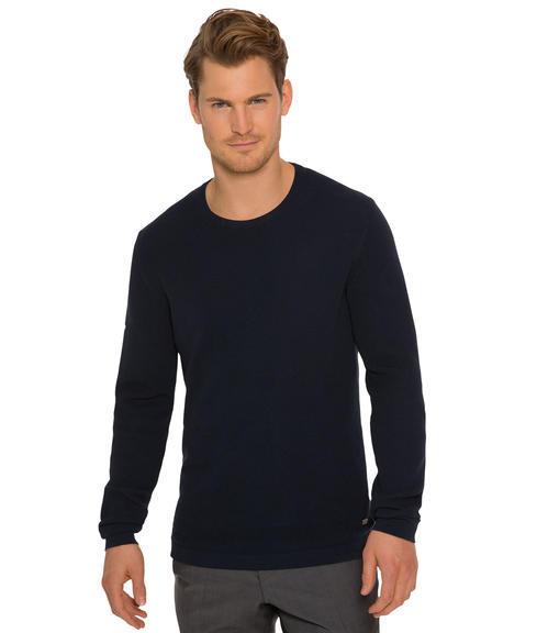 Tmavě modrý pletený svetr|L - 1