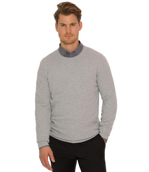 Světle šedý pletený svetr|XL - 1