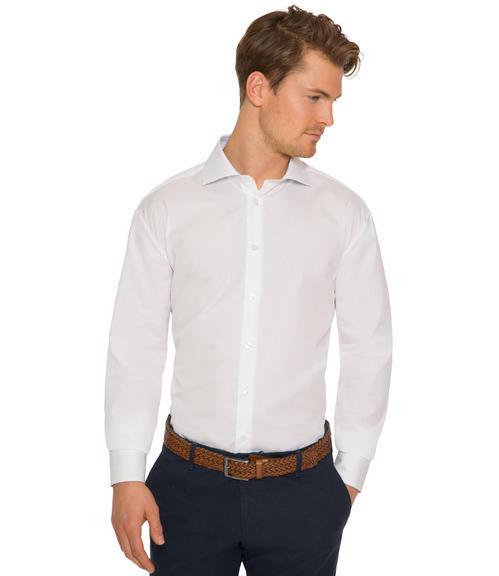 Bílá košile s dlouhým rukávem a jemným vzorem|44 - 1