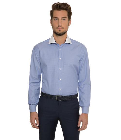 Modrá košile s tkanou strukturou|41 - 1