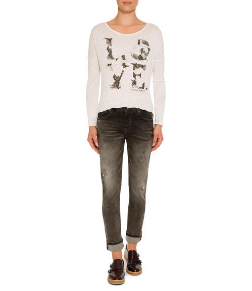 Bílé žíhané tričko s 3/4 rukávem|XL - 1