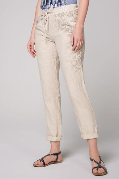 Plátěné kalhoty STO-2004-1853 desert beige/spicy orange|S - 1
