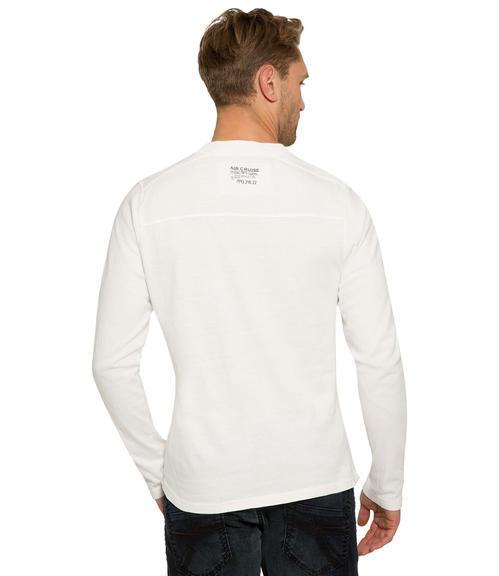 Bílé tričko s dlouhým rukávem a všitým nápisem|M/L - 2