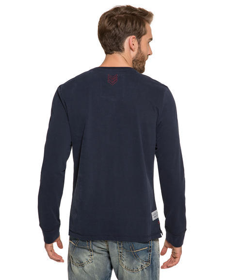 Modré tričko s dlouhým rukávem a potiskem s nášivkou|M - 2