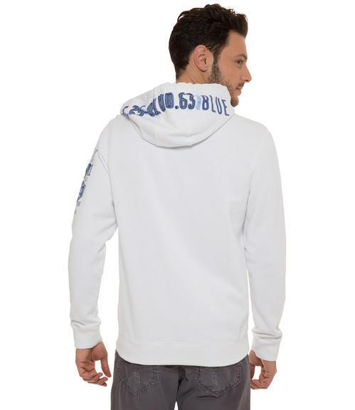 Bílá mikina na zip s kapucí|XL - 2