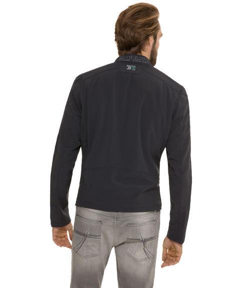Tmavě modrá sofshellová bunda na zip|M/L - 2