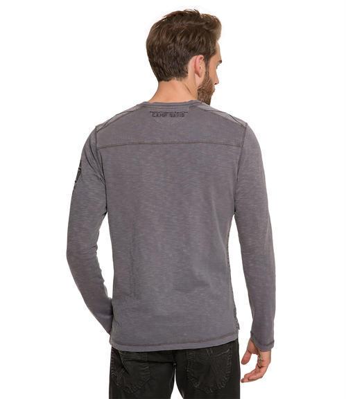 Modrošedé tričko s dlouhým rukávem|M/L - 2