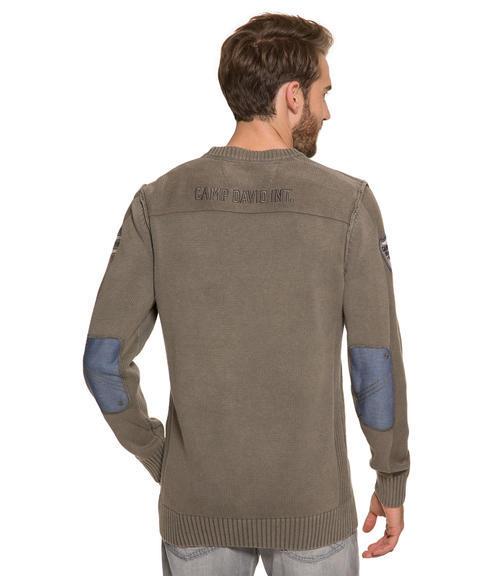 Khaki pletený svetr s výšivkou|S - 2
