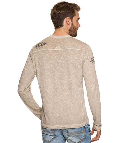 Béžové tričko s dlouhým rukávem a výšivkou|XXL - 2