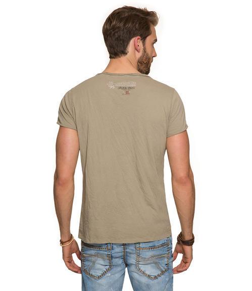 Khaki tričko s náprsní kapsičkou S - 2
