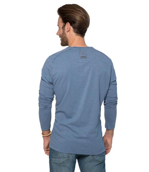 Modré tričko s dlouhým rukávem a módními knoflíky S - 2