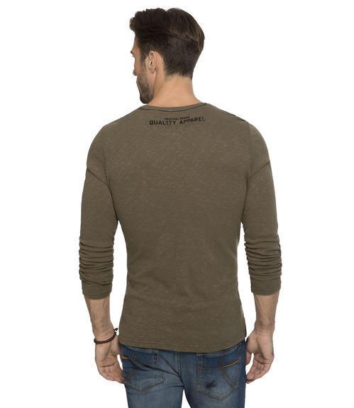 khaki tričko s dlouhým rukávem a potiskem|M - 2