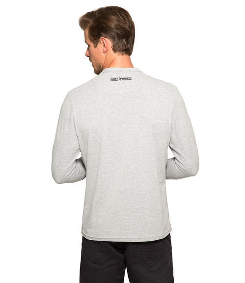 Šedé tričko s kontrastní nášivkou|M/L - 2
