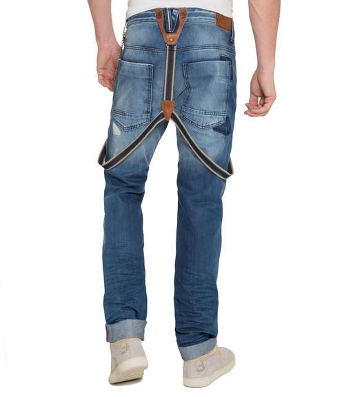 Džínové kalhoty s kšandami 34 - 2
