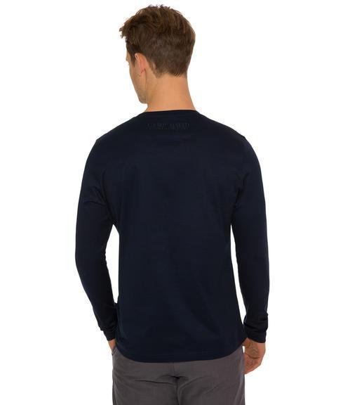 Tmavě modré tričko s dlouhým rukávem a logem|S - 2
