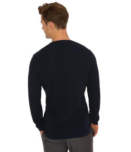 Tmavě modrý pletený svetr|M - 2