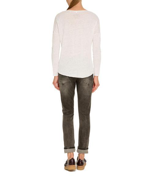 Bílé žíhané tričko s 3/4 rukávem|XL - 2