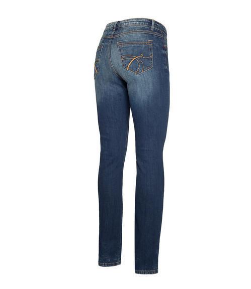 Tmavě modré džíny s kontrastním lemováním|30 - 2