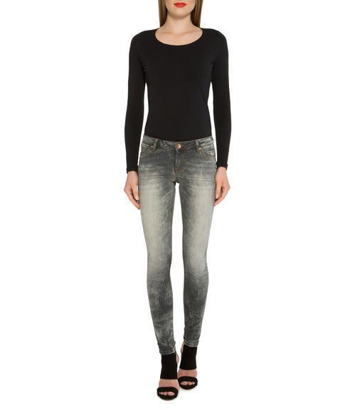 Světle šedé džínové kalhoty se sepraným efektem|32 - 3