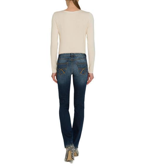 Tmavě modré džíny s kontrastním lemováním|30 - 3