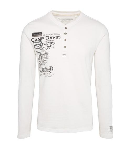 Bílé tričko s dlouhým rukávem a všitým nápisem|M/L - 3