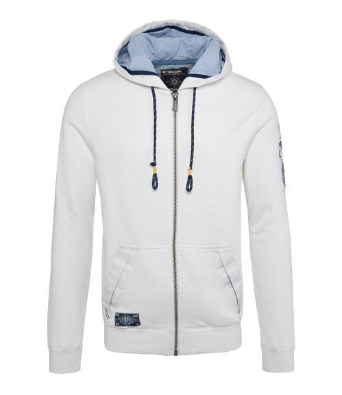 Bílá mikina na zip s kapucí|XL - 3