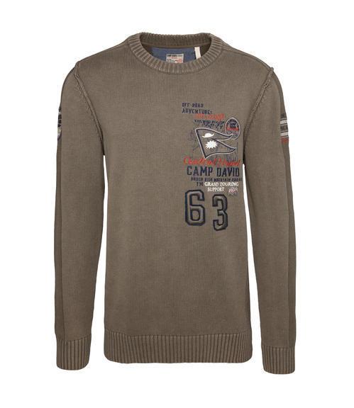 Khaki pletený svetr s výšivkou|S - 3