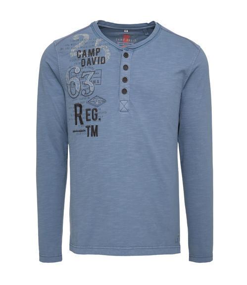Modré tričko s dlouhým rukávem a módními knoflíky S - 3