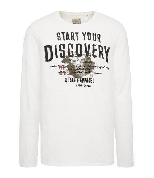 bílé tričko s dlouhým rukávem a potiskem|M - 3