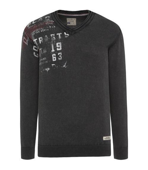 černý svetr s véčkovým výstřihem|M - 3