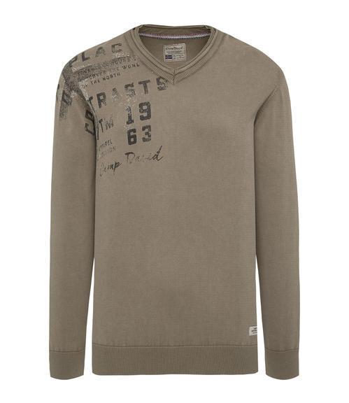 hnědý svetr s véčkovým výstřihem|L - 3