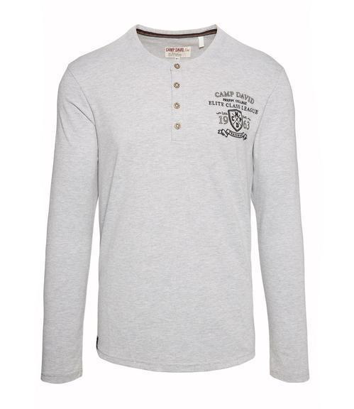 Šedé tričko s kontrastní nášivkou|M/L - 3
