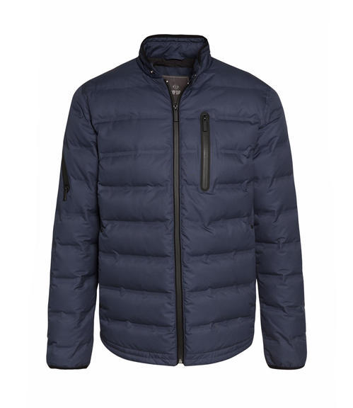 Tmavě modrá bunda s náprsní kapsou|48 - 3