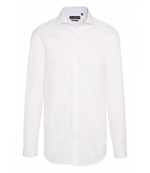 Bílá košile s dlouhým rukávem a jemným vzorem|44 - 3