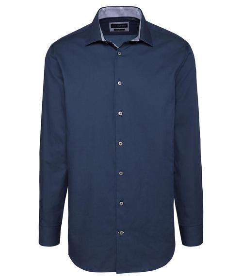 Tmavě modrá košile s kontrastní vnitřní stranou límce|43 - 3