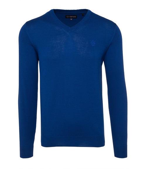 Tmavě modrý svetr s véčkovým výstřihem|S - 3