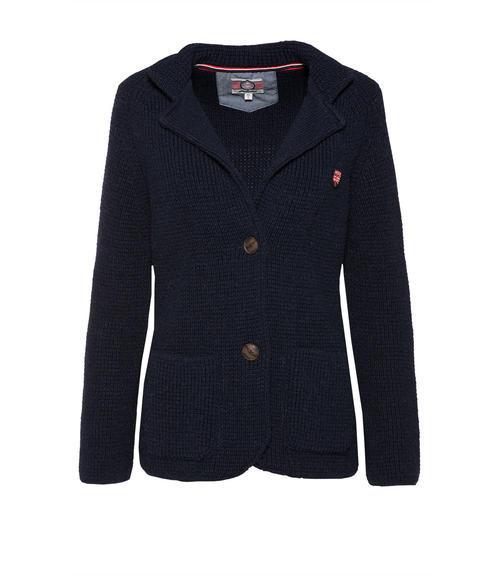 Modrý pletený blazer se zapínáním na dva knoflíky|M - 3