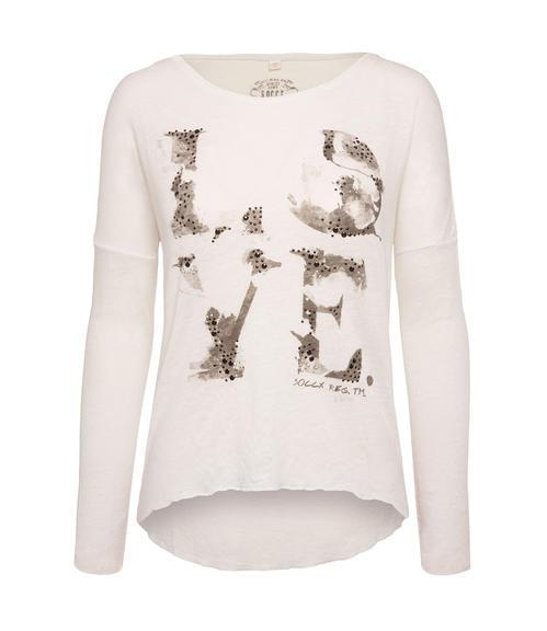 Bílé žíhané tričko s 3/4 rukávem|XL - 3